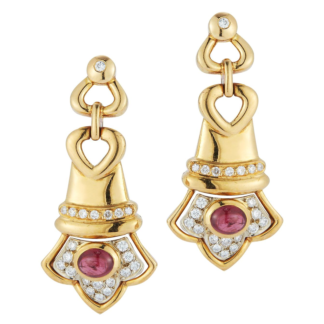 Cabochon Ruby & Diamond Earrings
