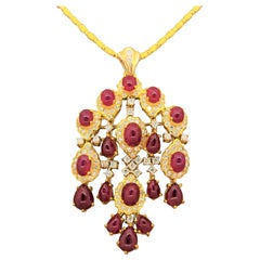 Cabochon Ruby Diamond Gold Chandelier Pendant and Brooch