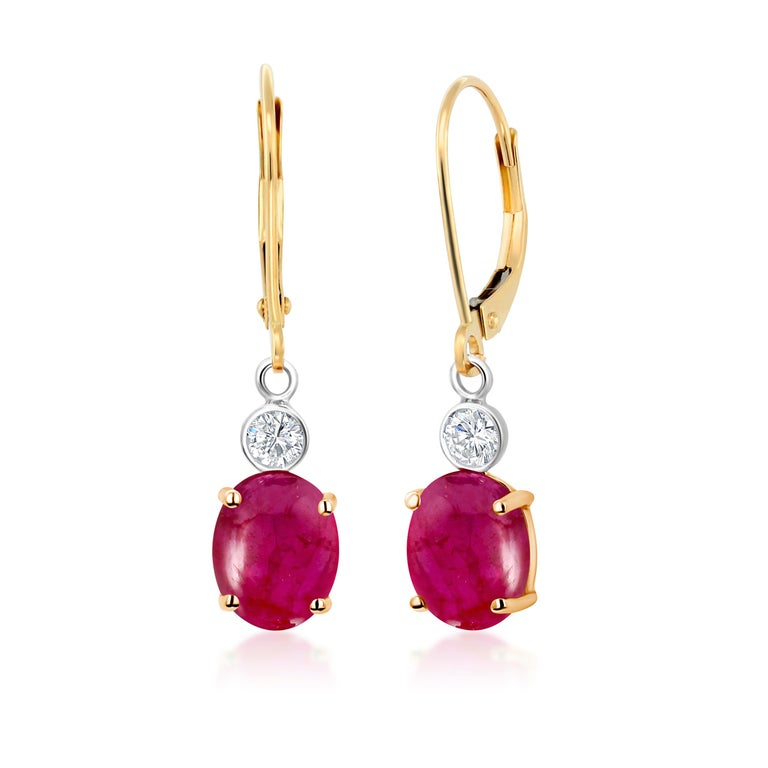 Contemporary Cabochon Ruby Diamond Gold Hoop Earrings Weighing 3.75 Carat For Sale