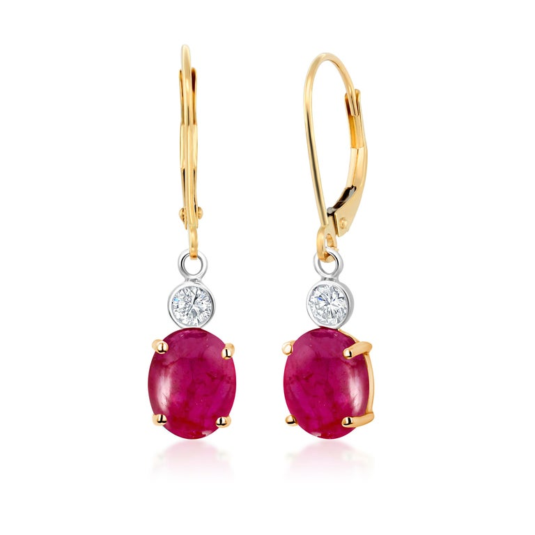 Oval Cut Cabochon Ruby Diamond Gold Hoop Earrings Weighing 3.75 Carat For Sale