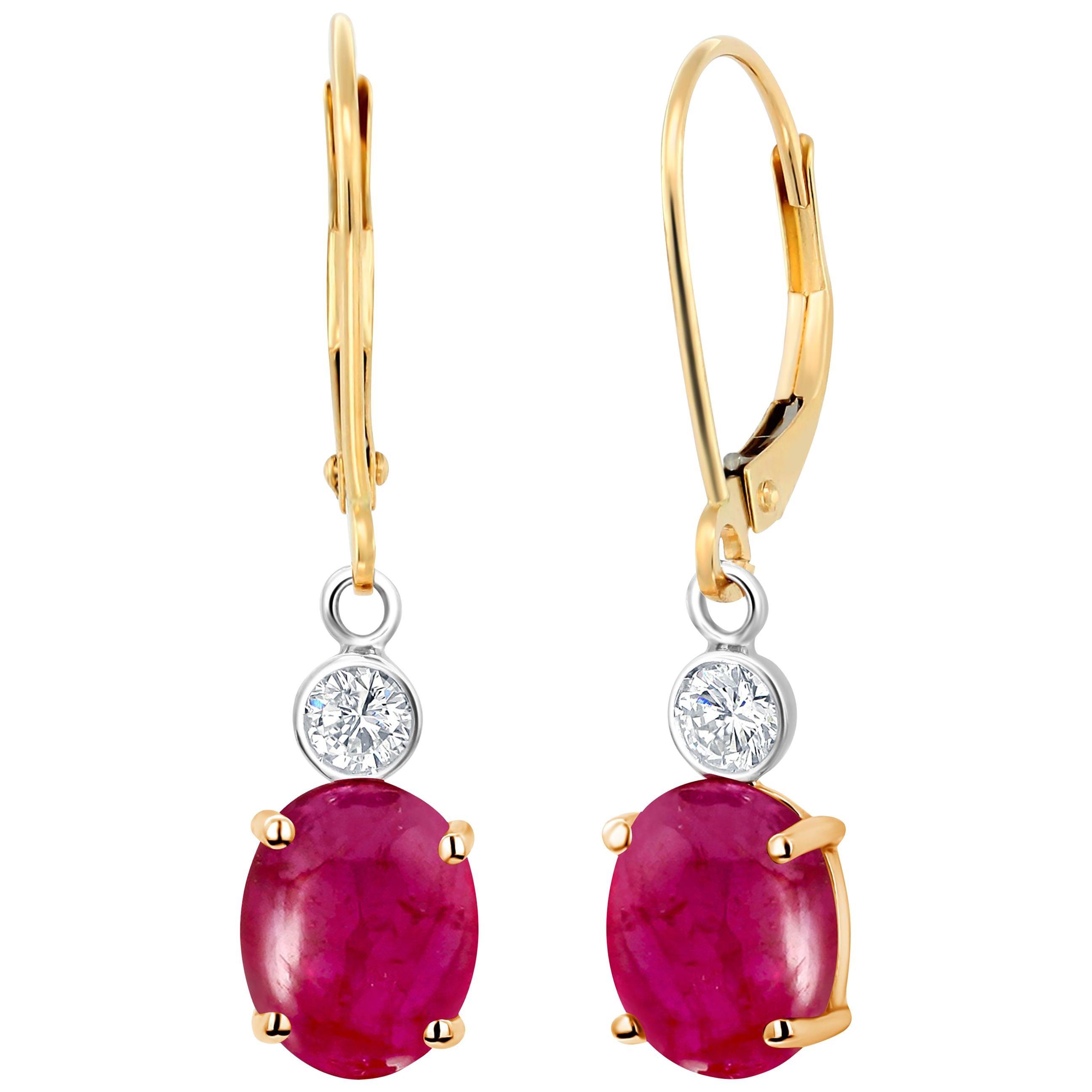 Cabochon Ruby Diamond Gold Hoop Earrings Weighing 3.75 Carat