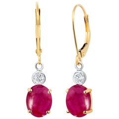 Cabochon Ruby Diamond Gold Hoop Earrings Weighing 3.75 Carat
