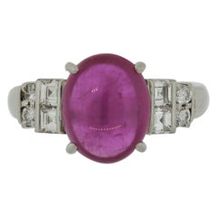 Cabochon Ruby Diamond Platinum Ring