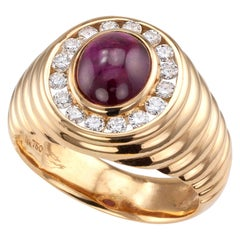 Cabochon Ruby Diamond Yellow Gold Gentlemans Ring