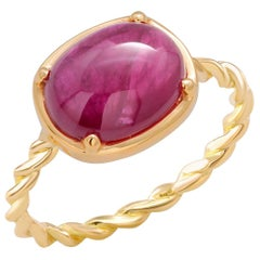 Cabochon Ruby Fourteen Karat Yellow Gold Cocktail Twisted Ring