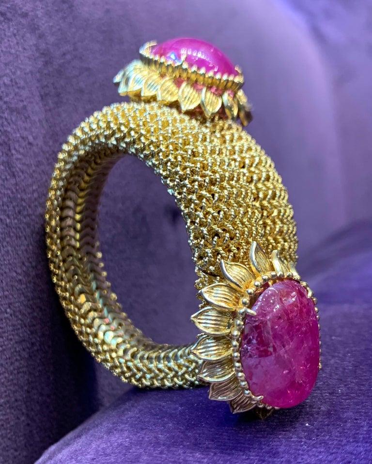 Cabochon Ruby Gold Mesh Bracelet  For Sale 6