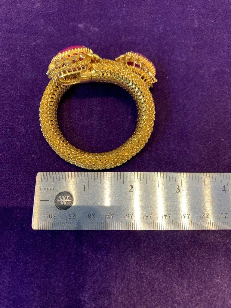 Cabochon Ruby Gold Mesh Bracelet  For Sale 7