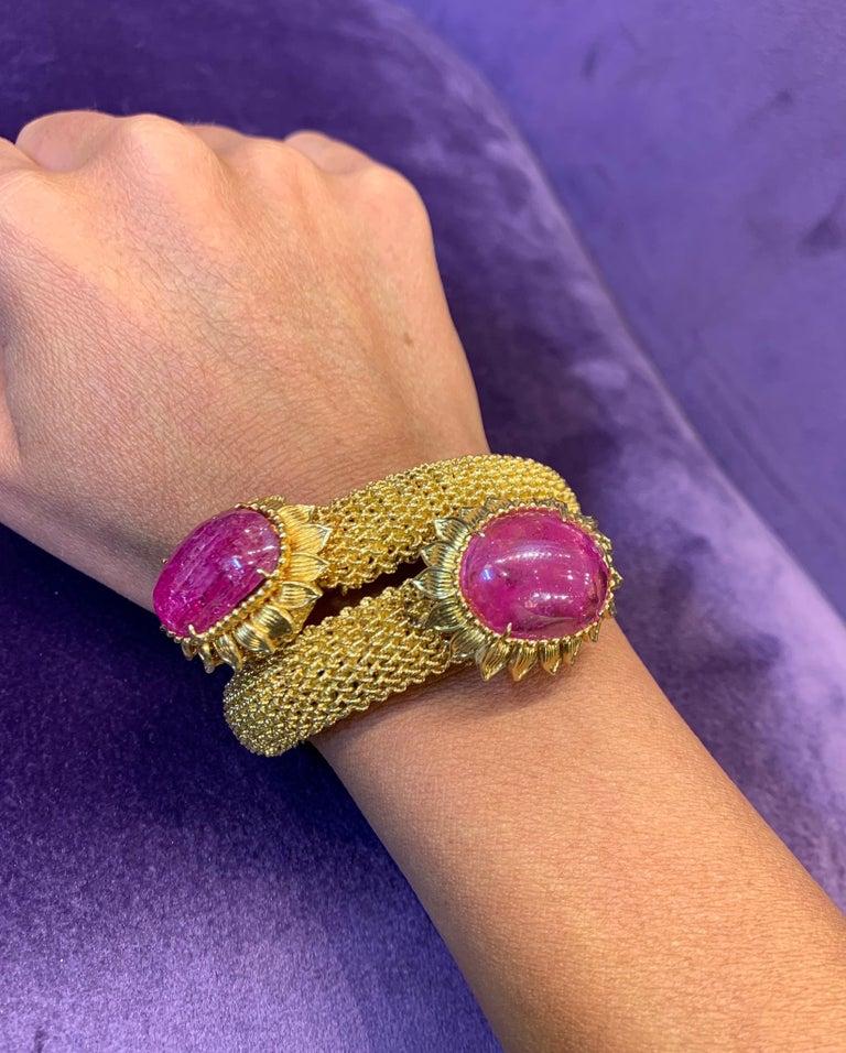 Cabochon Ruby Gold Mesh Bracelet  For Sale 1