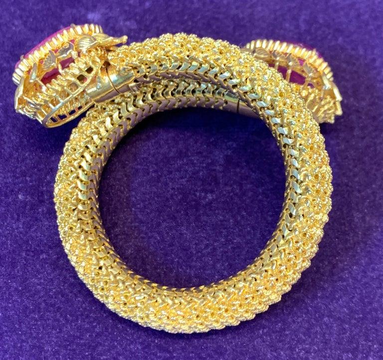 Cabochon Ruby Gold Mesh Bracelet  For Sale 5