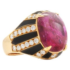 Cabochon Ruby, Onyx and Diamond Cocktail Ring by Bulgari
