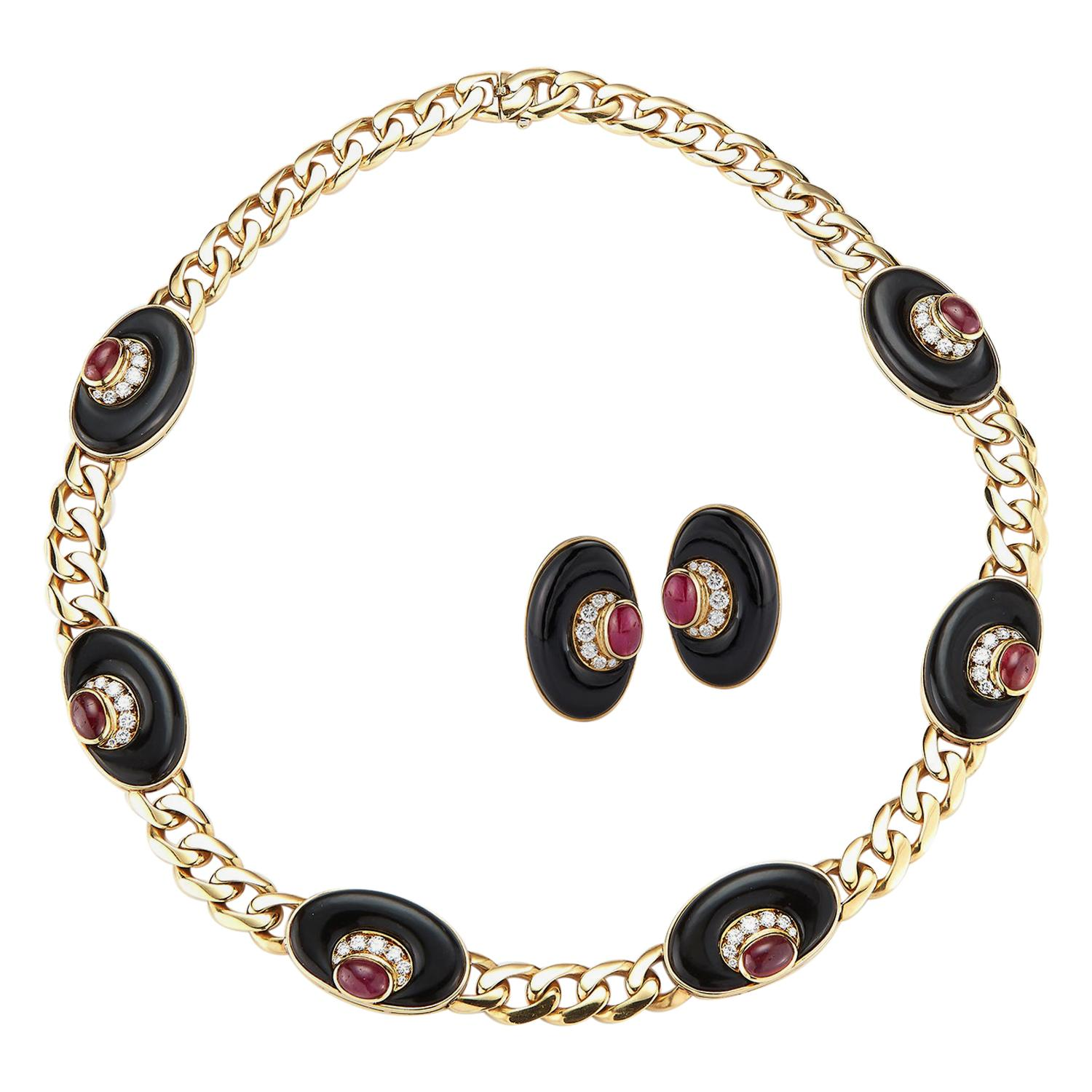 Cabochon Ruby, Onyx, and Diamond Necklace and Earring Set by Bvlgari