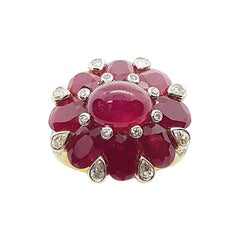 Cabochon Ruby, Ruby with Diamond Ring Set in 18 Karat Gold Settings
