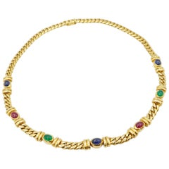 Cabochon Ruby Sapphire Emerald 18K Gold Curb Chain Necklace with Invisible Clasp
