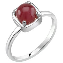 Cabochon Ruby Solitaire Sterling Silver Ring White Gold Plate