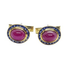 Cabochon Ruby with Blue Sapphire Cufflinks Set in 18 Karat Gold Settings