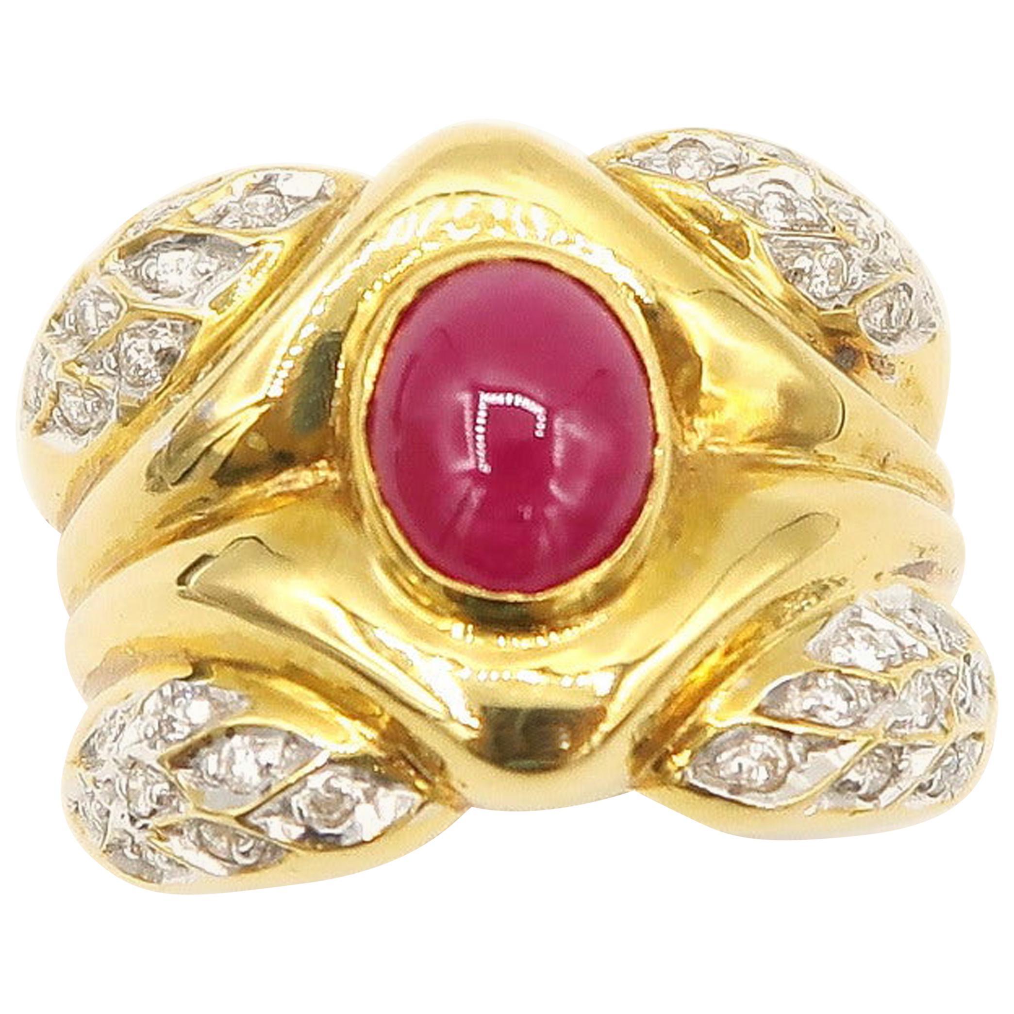 Cabochon Ruby with Diamond 18 Karat Gold Men's Ring