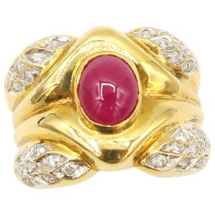 Cabochon Ruby with Diamond 18 Karat Gold Men's Ring