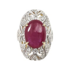 Cabochon Ruby with Diamond Ring Set in 18 Karat Gold Settings