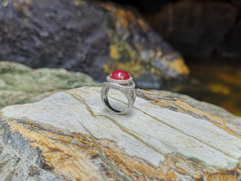 Cabochon Ruby with Diamond Ring Set in 18 Karat White Gold Settings For Sale 5