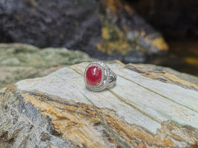 Cabochon Ruby with Diamond Ring Set in 18 Karat White Gold Settings For Sale 7