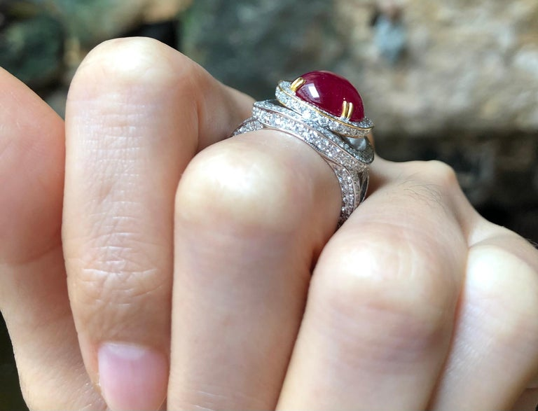 Cabochon Ruby 7.76 carats with Diamond 2.17 carats Ring set in 18 Karat White Gold Settings  Width:  1.5 cm  Length:  2.0 cm Ring Size: 53 Total Weight: 13.78 grams