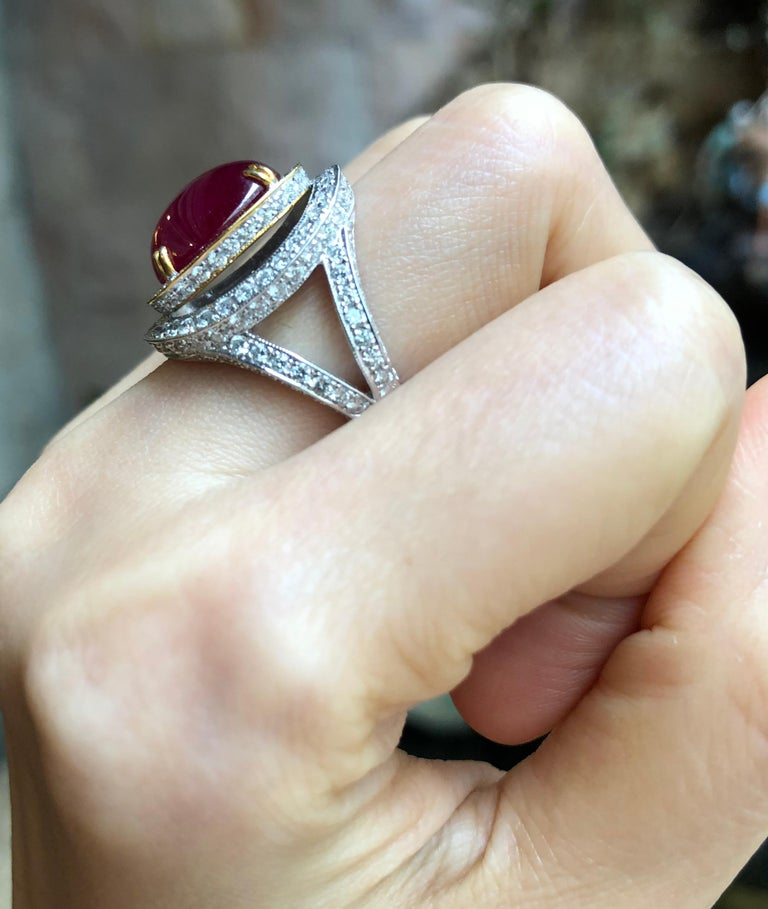 Cabochon Ruby with Diamond Ring Set in 18 Karat White Gold Settings For Sale 2