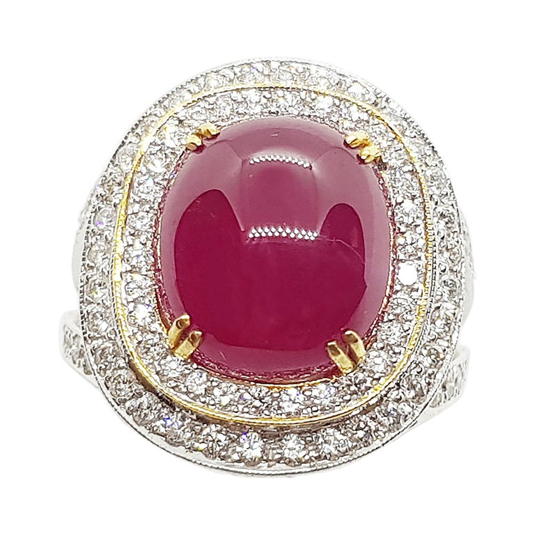 Cabochon Ruby with Diamond Ring Set in 18 Karat White Gold Settings For Sale
