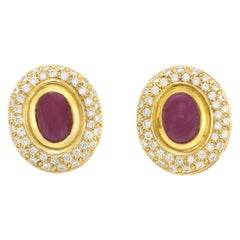 Cabochon Ruby with Diamonds Earrings