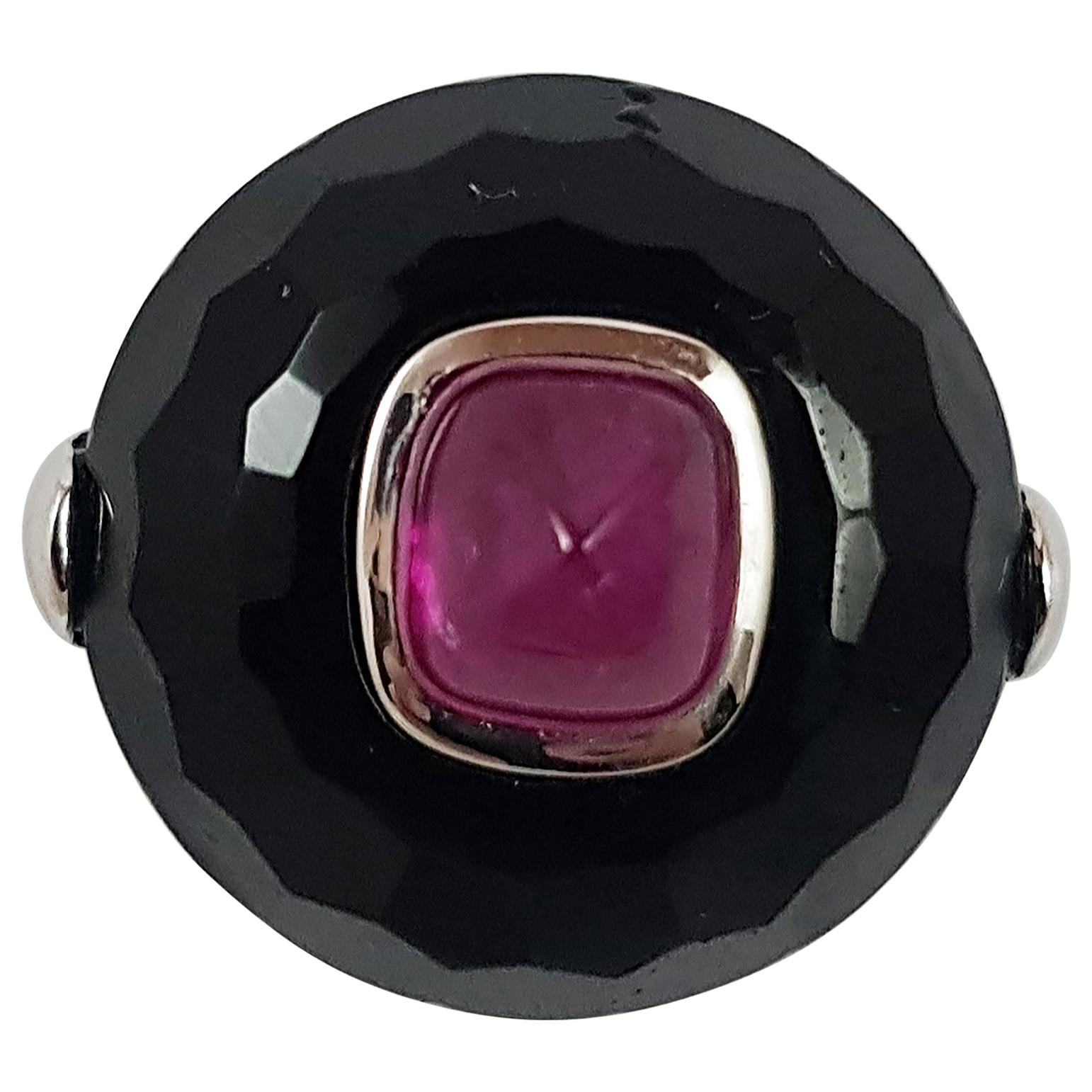 Cabochon Ruby with Onyx Ring Set in 18 Karat White Gold Settings