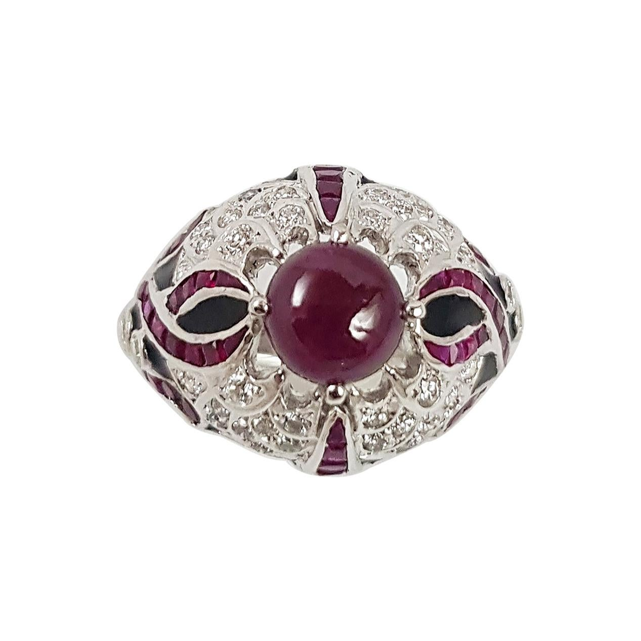 Cabochon Ruby with Ruby and Diamond Ring Set in 18 Karat White Gold Settings