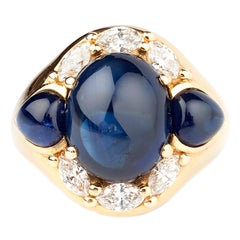 Cabochon Sapphire and Diamond 1970s 18 Karat Gold Dress Ring