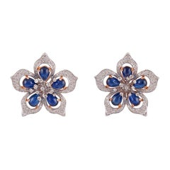Cabochon Sapphire and Diamond Earrings, Set in 18 Karat Rose and White Gold