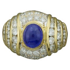 Cabochon Sapphire and Diamond Fashion Ring in 18 Karat Yellow Gold circa 1970s