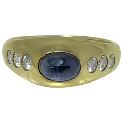 Cabochon Sapphire and Diamond Gypsy Ring