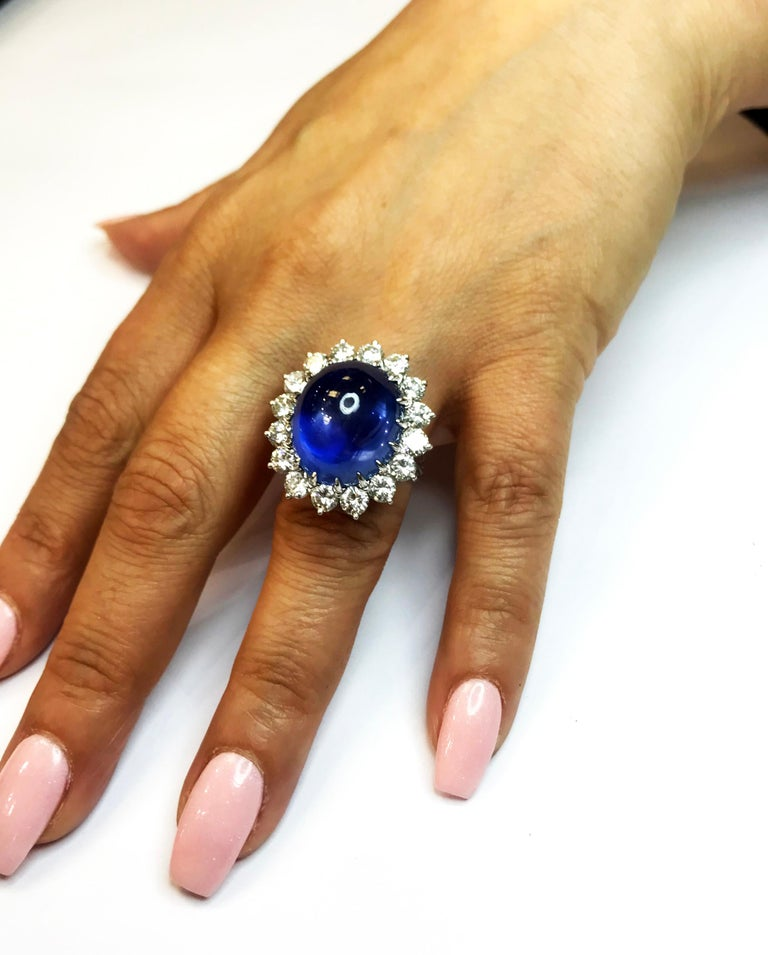 Oval Cut Cabochon Sapphire and Diamond Platinum Cocktail Ring For Sale