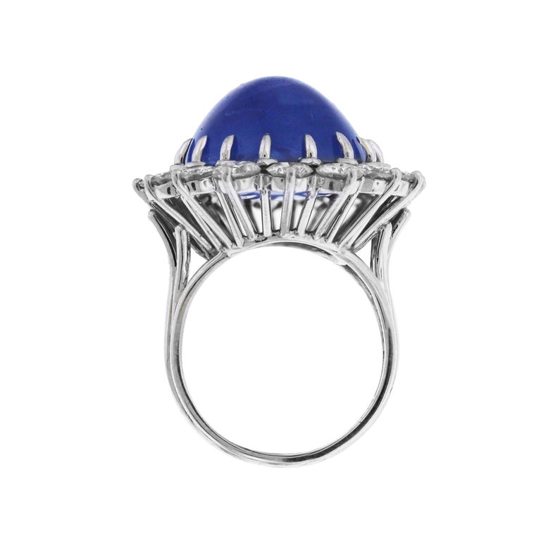 Women's Cabochon Sapphire and Diamond Platinum Cocktail Ring For Sale