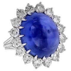Cabochon Sapphire and Diamond Platinum Cocktail Ring