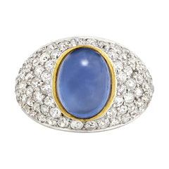 Cabochon Sapphire and Diamond Ring, 7.00 Carat