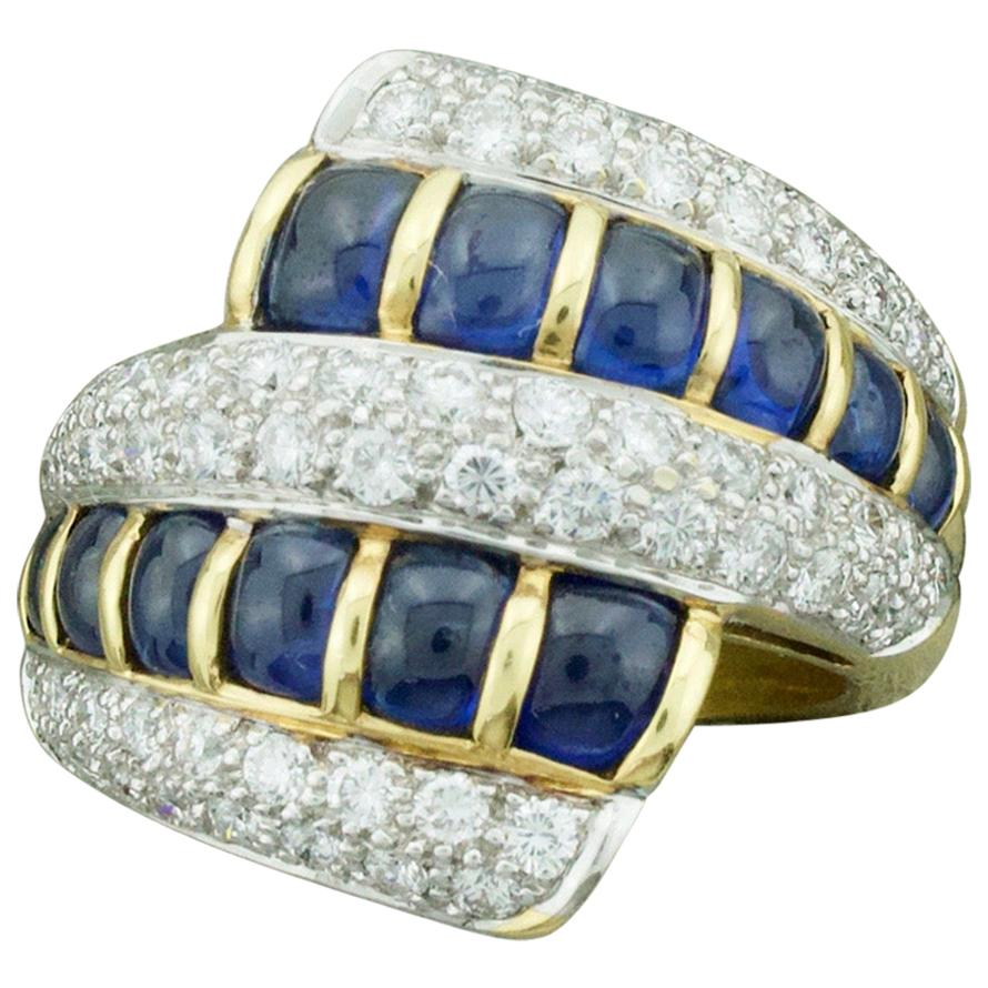 Cabochon Sapphire and Diamond Ring in 18 Karat Yellow Gold