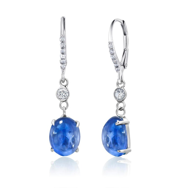 Contemporary Cabochon Sapphire and Diamond White Gold Hoop Drop Earrings Weighing 10.55 Carat For Sale