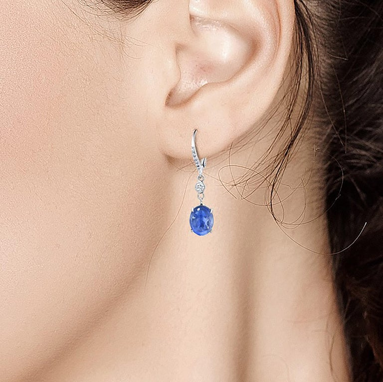 Oval Cut Cabochon Sapphire and Diamond White Gold Hoop Drop Earrings Weighing 10.55 Carat For Sale