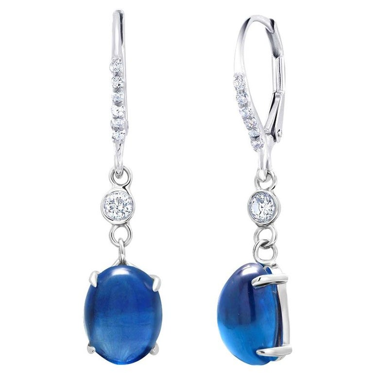 Cabochon Sapphire and Diamond White Gold Hoop Drop Earrings Weighing 10.55 Carat In New Condition For Sale In New York, NY