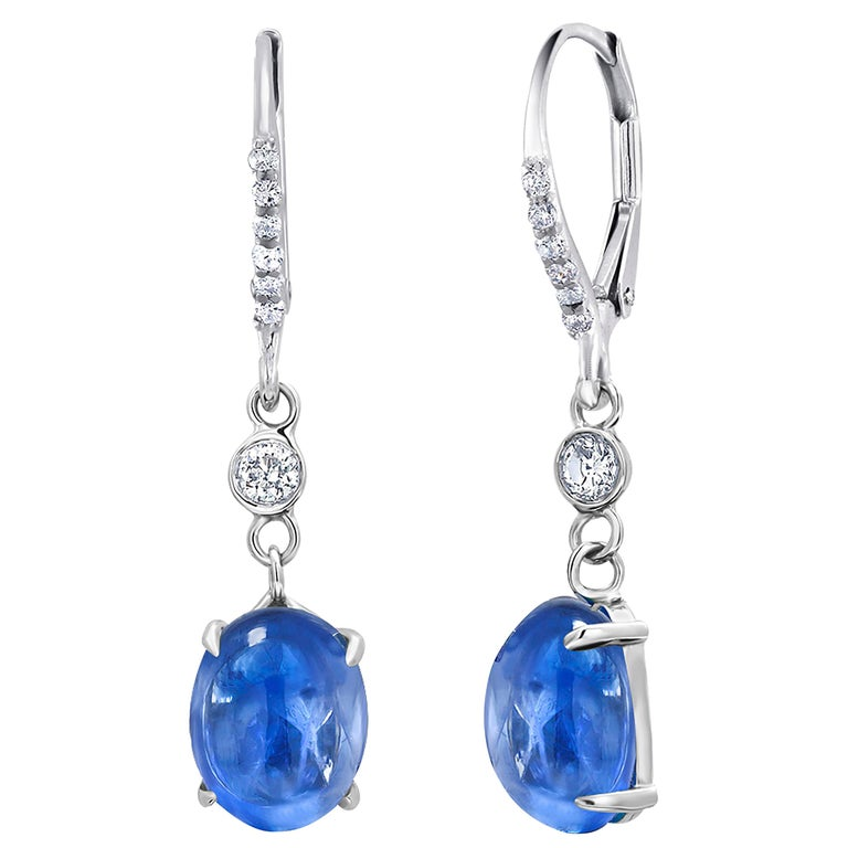 Cabochon Sapphire and Diamond White Gold Hoop Drop Earrings Weighing 10.55 Carat For Sale