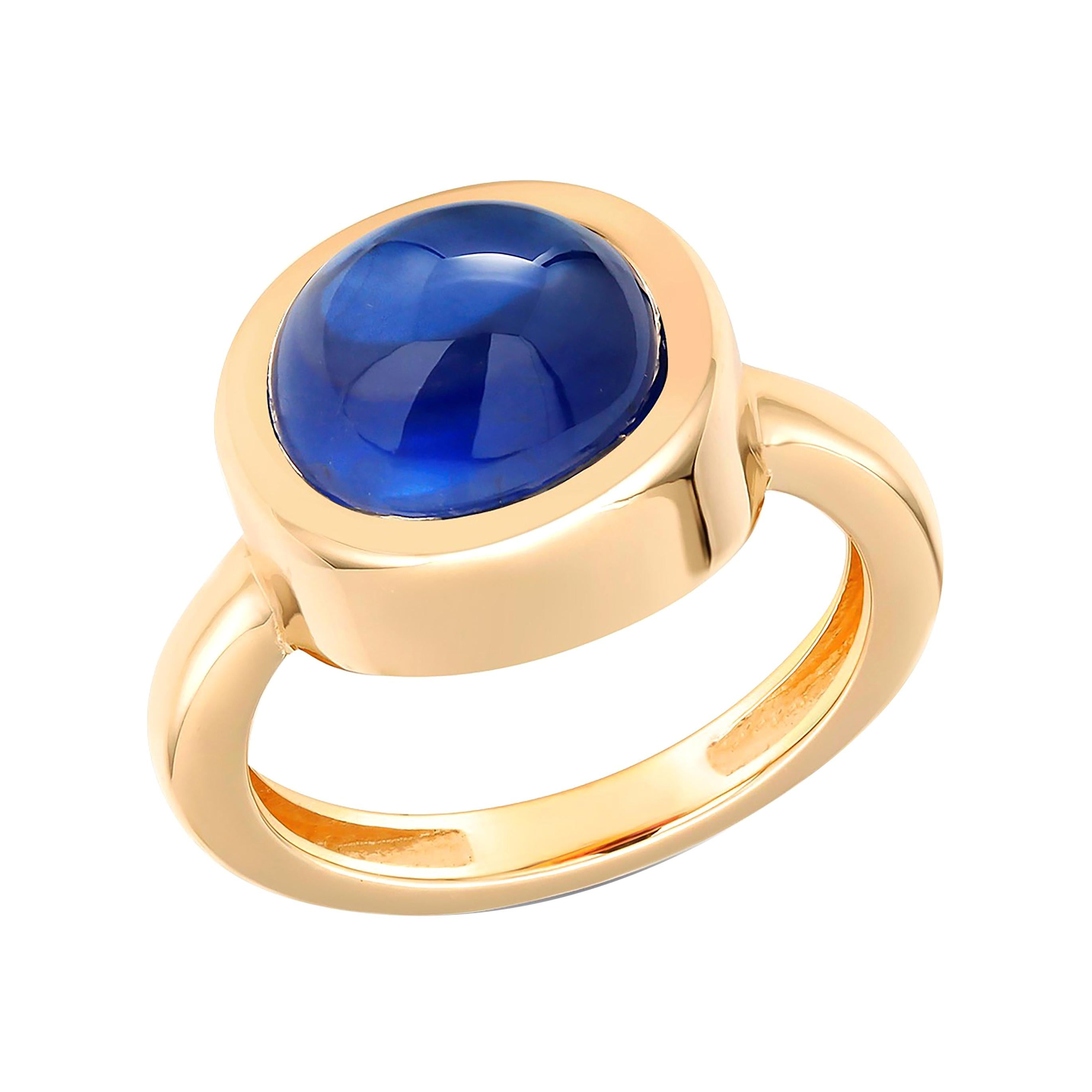 Cabochon Sapphire Bezel Raised Dome Yellow Gold Cocktail Ring