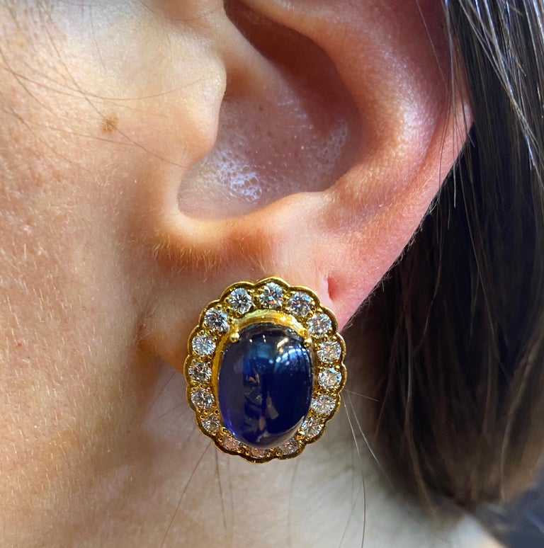 Cabochon Sapphire & Diamond Earrings In Excellent Condition For Sale In New York, NY