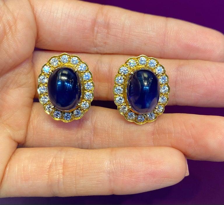 Cabochon Sapphire & Diamond Earrings For Sale 1