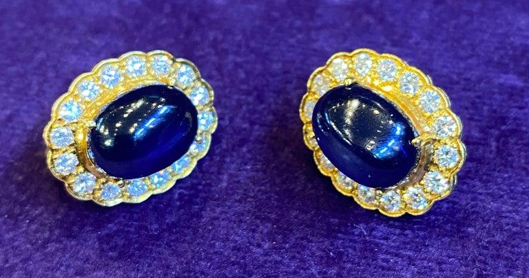 Cabochon Sapphire & Diamond Earrings For Sale 2