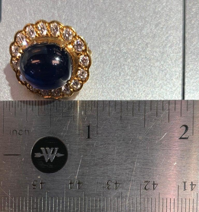Cabochon Sapphire & Diamond Earrings For Sale 3