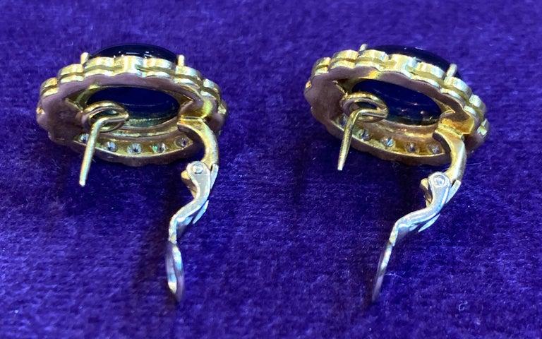 Cabochon Sapphire & Diamond Earrings For Sale 4