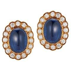 Cabochon Sapphire & Diamond Earrings